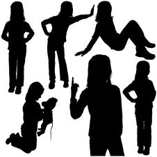 Free Childs Silhouettes Stock Photography - 6058132