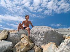 Free Child On Stones Royalty Free Stock Image - 6058696