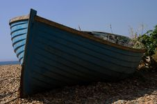Abandoned Old Blue Fishing Boat Royalty Free Stock Photos