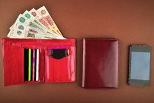 Purse,money, Wallet And Phone Royalty Free Stock Image