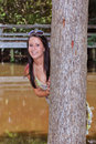 Free Peaking Around A Tree Stock Photography - 6060332