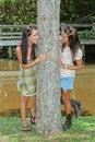 Free Peeking Around A Tree Stock Photo - 6060350