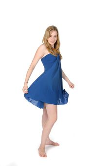 Free Woman In Blue Dress Royalty Free Stock Image - 6060676