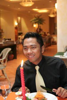 Free Man Having Dinner In Restaurant Stock Photo - 6060700