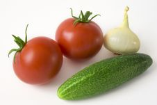 Free Tomatoes, Onion And Cucumber Royalty Free Stock Photo - 6061675