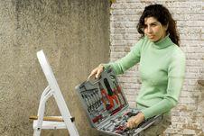 Free Woman With Box Of Tools - Horizontal Royalty Free Stock Photo - 6062915