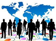 Free Business People And Map Royalty Free Stock Images - 6063229