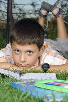 Free Boy Doing  Home Work Stock Photography - 6064672