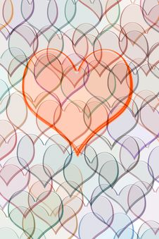 Free Heart On Pattern Of Hearts Royalty Free Stock Photography - 6064747