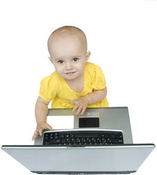 Free Little Baby Girl With Laptop, Isolated Stock Photos - 6065723