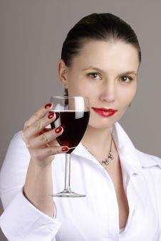 Free Woman With Glass Red Wine Stock Photography - 6068342