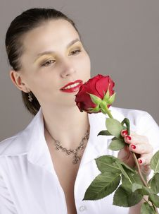 Girl With Red Rose Stock Image