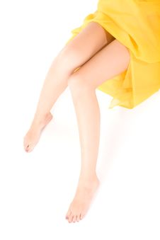 Long Legs Of Relaxing Lady Stock Photography