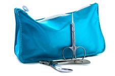 Free Blue Beautician And Nail Scissors. Royalty Free Stock Photo - 6068865