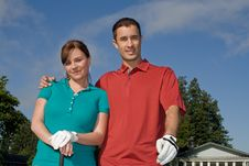 Free Golfers Smile At Camera - Horizontal Stock Photography - 6069512