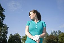 Free Woman Standing On Golf Course - Horizontal Royalty Free Stock Image - 6069546