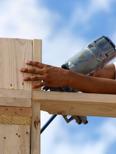 Free Hand Drilling Wood - Vertical Stock Image - 6069611