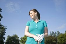 Free Woman Standing On Golf Course - Horizontal Stock Photography - 6069622
