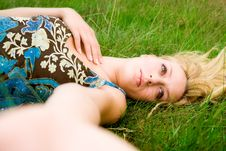 Free Girl And The Green Grass Stock Photo - 6069630