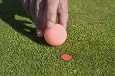 Free Man Putting Ball On Marker - Horizontal Stock Image - 6069661