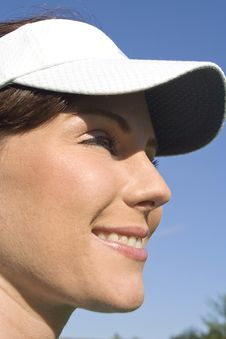Free Profile Of Smiling Female Golfer - Vertical Royalty Free Stock Images - 6069729