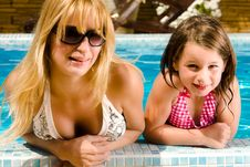 Free Together With My Sister In The Pool Royalty Free Stock Photo - 6070315