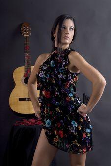 Free Beautiful Flamenco Dancer With Black Background Stock Photos - 6070333