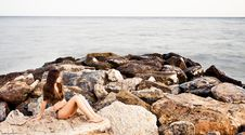 Free Woman In Rocks Royalty Free Stock Photo - 6070575