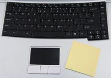 Blank Sticky Note On A Laptop Royalty Free Stock Photos