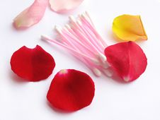 Hygiene Ear Clean Buds And Petals Stock Image