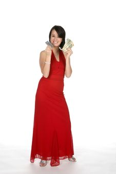 Free Teen In Red Gown With Money Royalty Free Stock Photos - 6073088
