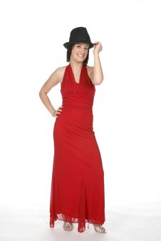 Free Top Had And Red Gown Royalty Free Stock Image - 6073096