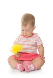 Free Sitting Small Baby With Yellow Flower 3 Royalty Free Stock Images - 6073129