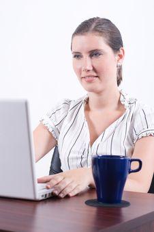 Free Woman Typing On Laptop Stock Image - 6073471