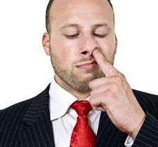 Free Man Digging His Nose Stock Photos - 6074233