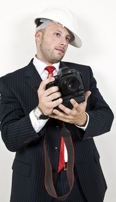Free Man Holding Camera Stock Image - 6074711