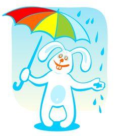 Free Rabbit With Umbrella Royalty Free Stock Photography - 6074967