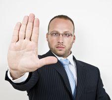 Free Warning Businessman Stock Image - 6074971