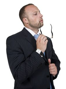 Free Thinking Businessman With Spectacle Stock Photography - 6075052