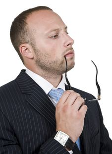 Free Thinking Businessman With Spectacle Royalty Free Stock Photo - 6075055