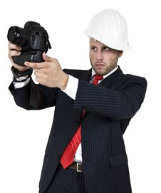 Free Man With Camera Royalty Free Stock Photography - 6075057