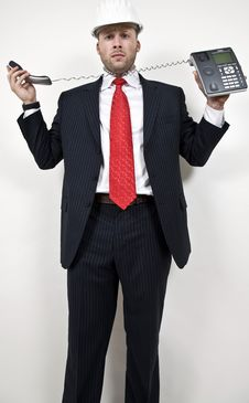 Free Male With Wired Phone Royalty Free Stock Photos - 6075138