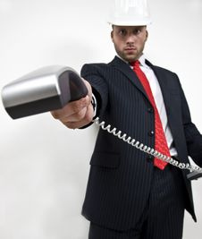 Free Engineer Showing Phone Receiver Stock Photo - 6075200