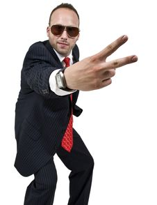 Free Businessman Indicating Victory Royalty Free Stock Photography - 6075257