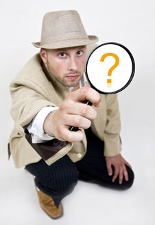 Free Spying Man With Magnifying Glass Royalty Free Stock Photo - 6075685