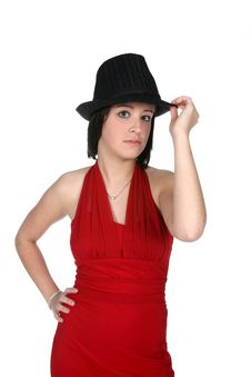 Cute Teen In Hat Royalty Free Stock Photo