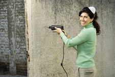Free Woman With A Drill - Horizontal Stock Images - 6077164