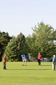 Men Playing Golf On Course Royalty Free Stock Photos