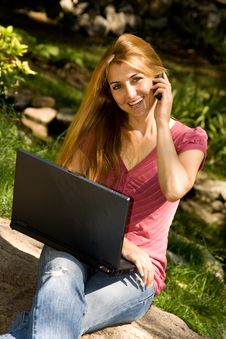 Student Using Laptop Royalty Free Stock Photography