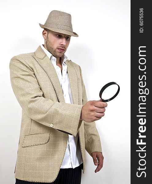 508178a8fd7ef Man With Fedora Hat And Magnifier - Free Stock Images   Photos ...